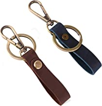 Leather Valet Key Chain with Belt Loop Clip for Keys and Carkey,2Pack(Blue and Dark Brown)