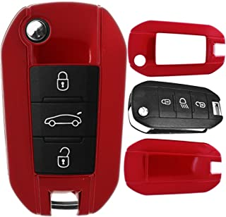 Klapp Schlüssel Cover Hülle für Peugeot 208 301 308 408 508 3008 2008 5008 Metallic Rot