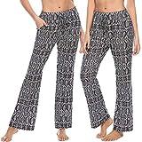 Irevial Pantalones de Yoga para Mujer Modal,100% Algodon,Alta Cintura Elásticos pantalón de Campana con cordón, Casuales Chandal Deportivo con Bolsillos para Pilates Jogger Fitness