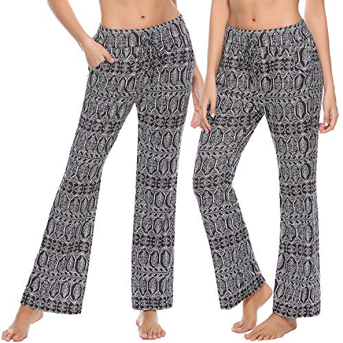 Irevial Pantalones de Yoga para Mujer Modal,Algodon Alta Cintura Elásticos pantalón de Campana con cordón, Casuales Chandal Deportivo con Bolsillos,para Pilates Jogger Fitness