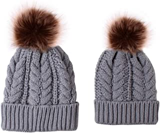 WOCACHI 2PCS Parent-Child Knitted Crochet Beanie Cap Pom Pom Hairball Earflap Winter Warm Mom & Baby Hat