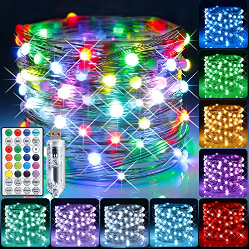 GIMGOM LED Fairy String Lights 33ft 100 LEDs Waterproof Twinkle Firefly Lights with Remote Control Fairy Lights with 8 Lighting Modes for Christmas Bedroom Wedding Indoor Outdoor Decor,16 Colors