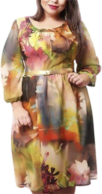 QZUnique Women's Plus Size Floral Printing Classy Casual Stylish Comfy Dress
