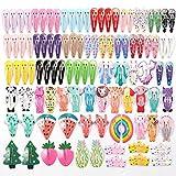 HOOMBOOM Mollette per Capelli Cartone Animato Carino, Set da 100 Mollette per Capelli Bambina Fermagli Capelli in Metallo Antiscivolo Accessori per Bambina Bambini Colorati