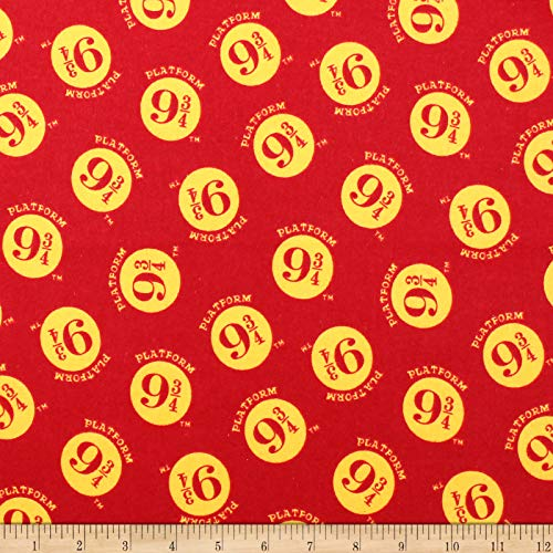 Harry Potter Platform 9 3/4 Flannel Burgundy Fabric by the Yard