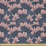 ABAKUHAUS Flores Tela por Metro, Magnolia Flores Japón, Microfibra Decorativa para Artes y Manualidades, 1M (230x100cm), Azul Oscuro Coral