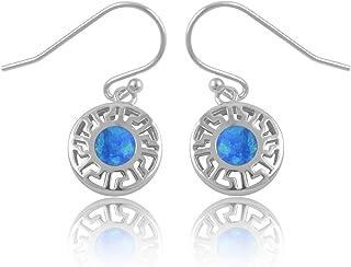 Sterling Silver Created Blue Opal Greek Key Dangle Earrings