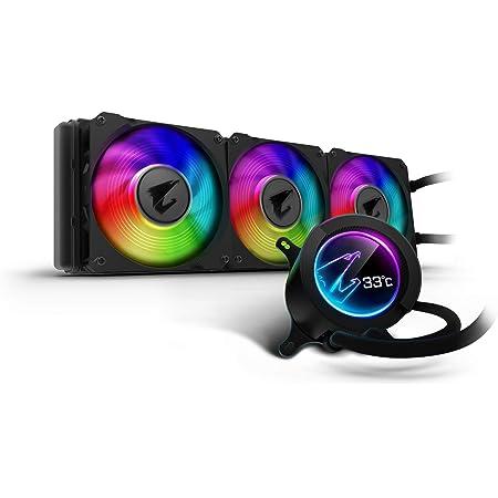 GIGABYTE AORUS RGB AIO Liquid Cooler 360, 360mm Radiator, Triple 120mm Windforce PWM Fans, Customizable Full Color LCD Display, Advanced RGB Lighting and Control, Intel 115X/2066, AMD AM4, TR4
