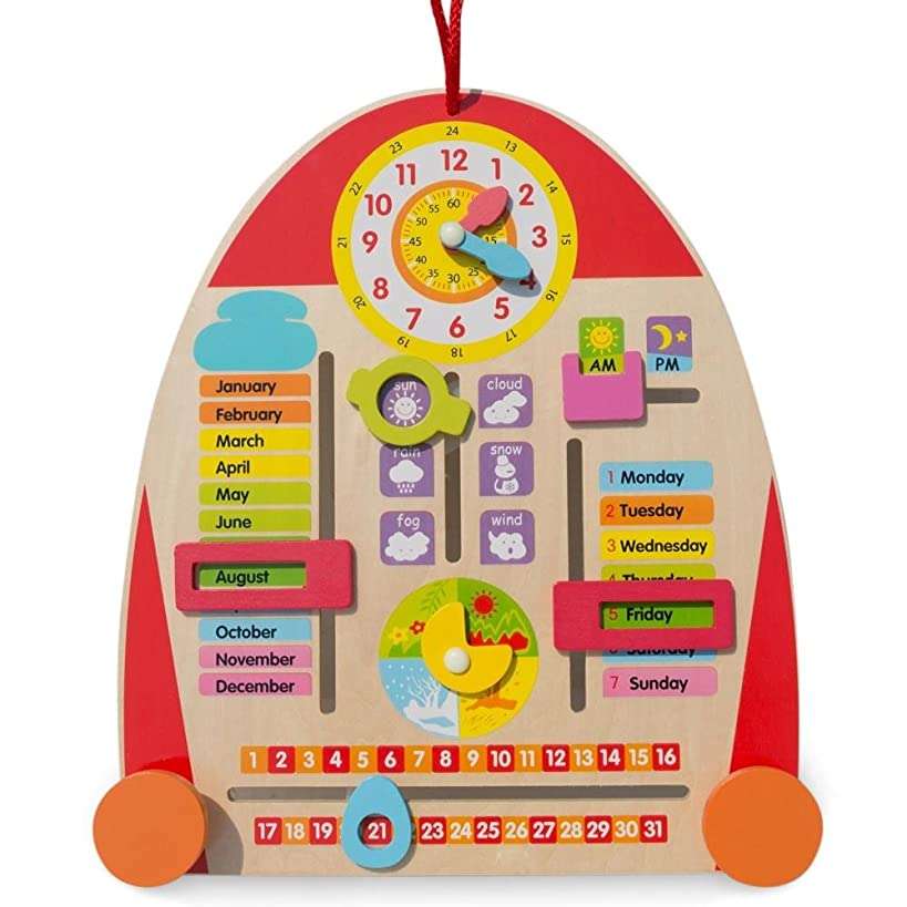 BestPysanky Wooden Tablet to Learn Calendar, Time, Date, Weekdays, Weather and Seasons 14 Inches