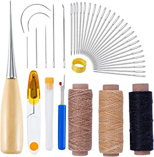 10 Pcs Upholstery Repair Kit,Curved Upholstery Hand Sewing Needles Sewing Needles with 3 Pcs Leather Waxed Thread Cord and Drilling Awl and Thimble and 25 Pcs Large-Eye Stitching Needles