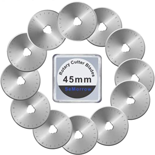 Rotary Cutter Blades 45mm Replacement for OLFA,Fiskars Quilting Rotary Blades 12 Pack