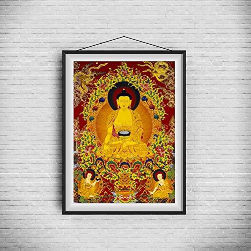 L.J.JZDY Thangka Thangka einzigartiger Buddhismus traditionelle realistische malerei hd Kunst Kopie leinwand malerei Poster wandbild wohnkultur Wohnzimmer