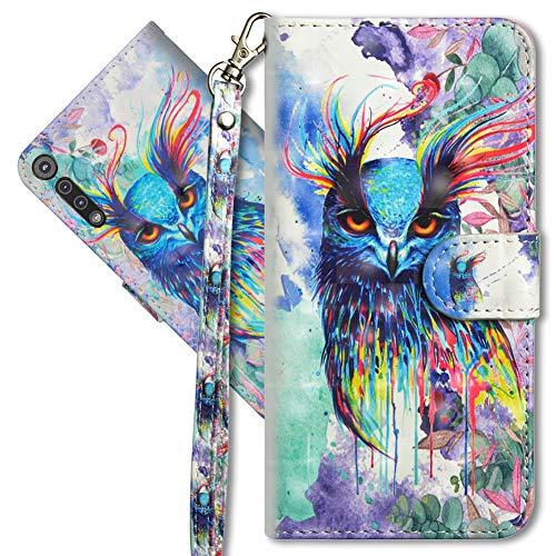 MRSTER Motorola One Macro Handytasche, Leder Schutzhülle Brieftasche Hülle Flip Hülle 3D Muster Cover mit Kartenfach Magnet Tasche Handyhüllen für Motorola Moto One Macro. YX 3D Colorful Owl