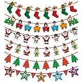 JPYH Navidad Banners, 6pcs Guirnaldas Navidad Banderas Banderines Buntings Banner Colgantes Decorativas Decoración Feliz Navidad Merry Christmas Muñeco de Nieve Papá Noel Arbol de Navidad
