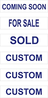 6 Pack Plastic Riders with 3 Standard Real Estate Phrases & 3 Custom Signs – Coming Soon, for Sale & Sold with 3 Custom Signs - 6 x 24 Inches (White Background Blue Text)