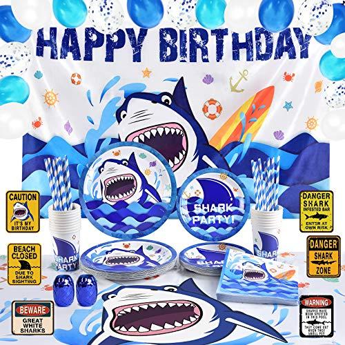 WERNNSAI Tiburón Cumpleaños Decoraciones de Fiesta - Azul Oceano Suministros para la Fiesta Conjunto para Niños Piscina Happy Birthday Fondo Manteles Platos Tazas Servilletas 16 Invitados 110 Piezas