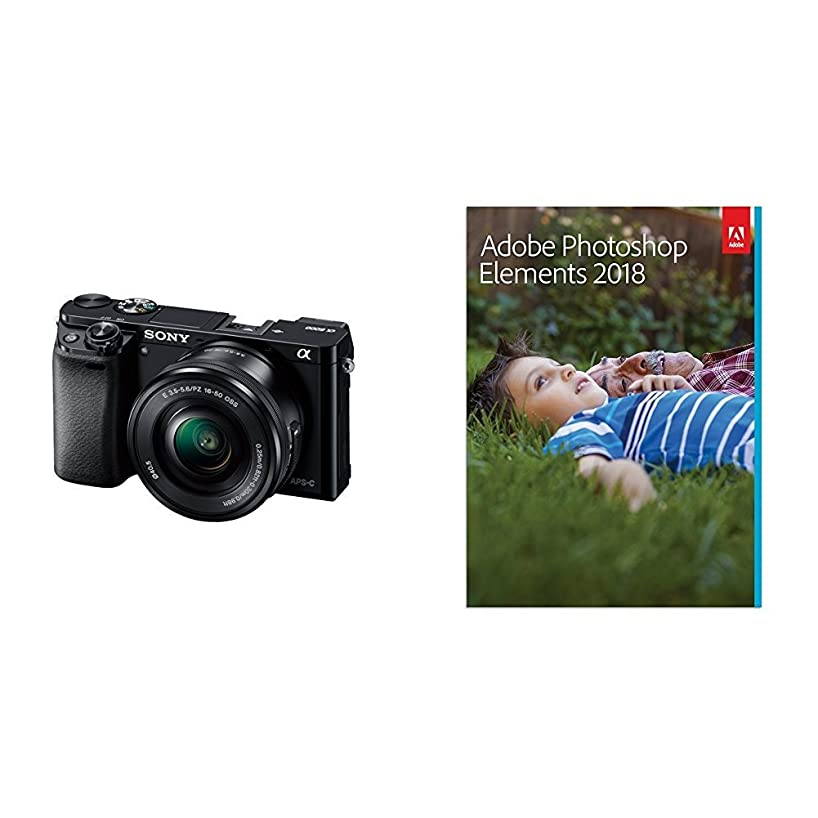 Sony Alpha a6000 Mirrorless Digital Camera with 16-50mm Power Zoom Lens  & Adobe Photoshop Elements 2018
