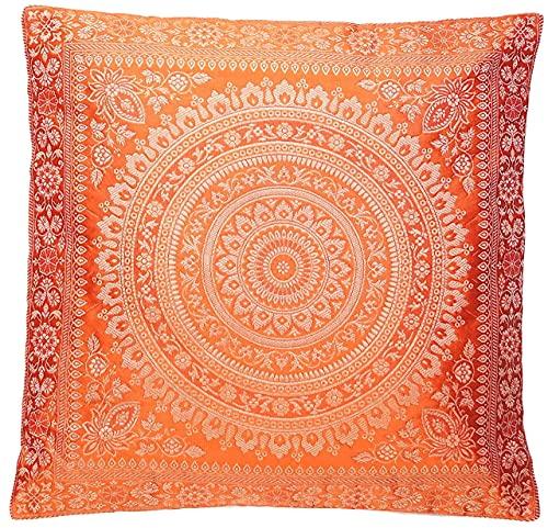 Ruwado Funda de almohada de seda oriental naranja | funda de cojín decorativa | funda de cojín de sofá de la India – 40 x 40 cm tejida a mano y cosida a mano por artesanos de cachemira india