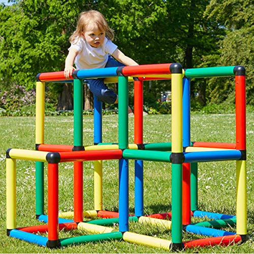 Quadro Climbing Pyramid - Rugged Indoor/Outdoor Climber, Tot/Toddler Jungle Gym, Expandable Modular Component Playset, Giant Construction KIt, Play Structure, Educational Toy for Kids Ages 1-6 Years.