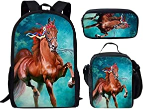 AXYOFSP Animal Horse Backpack with Lunch Bag Pen Case 3 pcs School Bookbags Set for Boys Girls