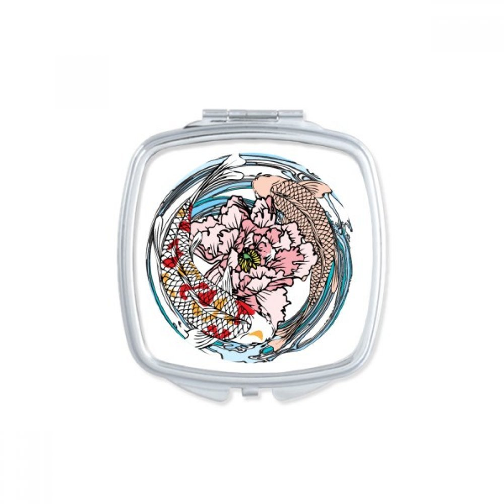 Carp Peony Water Sale Pattern Geometry Max 46% OFF Portable Mirror Compact Square