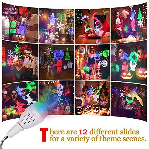 Proiettore Luci Natale, InnooLight Proiettore Lampada per Decorazioni Natalizie per la Casa la Camera da Letto per le Feste di Compleanno e Capodanno, 12 Pattern Colorati Auto Rotanti Proiettore