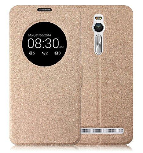 Prevoa ® 丨Flip S- View Funda Cover Case para ASUS ZenFone 2 (ZE551ML/ZE550ML) 5.5 Pulgadas Smartphone - Oro