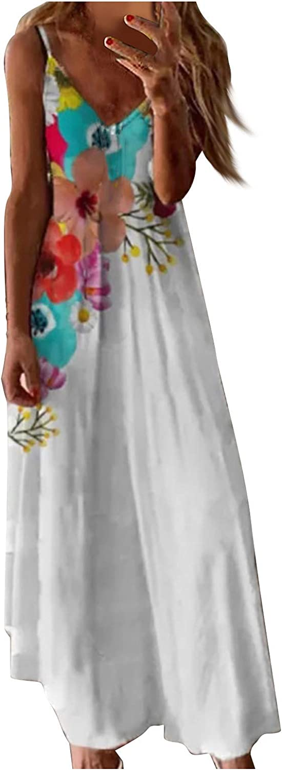 MASZONE Dresses for Women, Floral Printed Women's Summer Sleeveless Casual Long Maxi Dress Cocktail Party Cami Dress