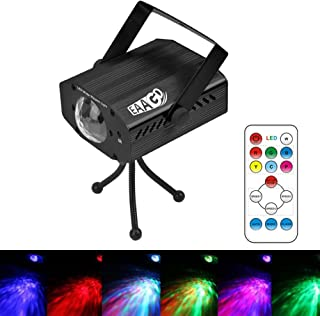 EAAGD Party Strobe Lights, 7 color Ocean Wave Projector Stage Halloween Christmas Rgb Led Par Light Lighting with Remote for DJ Bar Karaoke Xmas Wedding Flame Effects(Black)