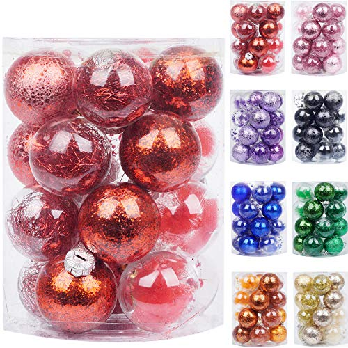 Babigo 20CT Christmas Ball Ornaments with Stuffed Delicate Decorations - 60mm/2.36' Decorative Clear Plastic Xmas Balls Baubles Set