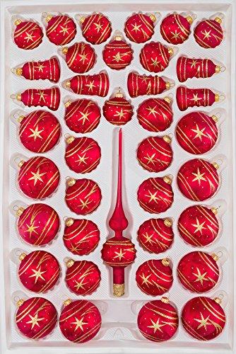 39 TLG. Glas-Weihnachtskugeln Set in Ice Rot Gold Komet - Christbaumkugeln - Weihnachtsschmuck-Christbaumschmuck