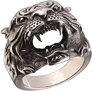 Men's Vintage Costume Finger Band Silver Black Stainless Steel Tiger Head/Skull/Evil Eye/Wolf Ring, Size 7 to 14