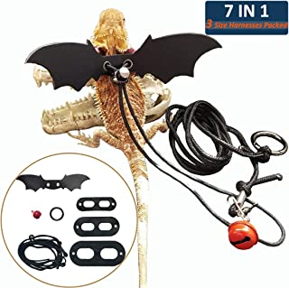 Lotyes Lizard Leash – Adjustable Bearded Dragon Leash and Harness – Pet-Friendly Leather Collar and Harness Supplies with Cool Wings, Small Bell for Reptiles Amphibians and Other Small Animals