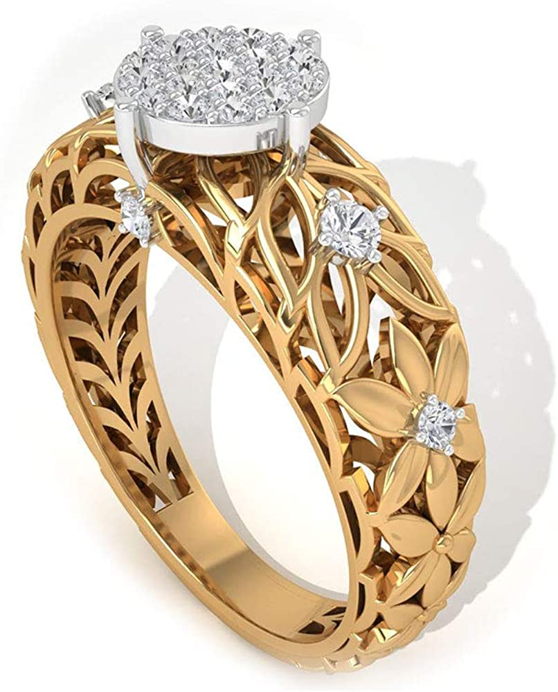 0.33 Ct Certified Moissanite Floral Ring, Unique Mixed Metal Solitaire Illusion Ring, DE-VS1 Color Clarity Gemstone Ring, Classic Wedding Bridal Ring, 14K Gold