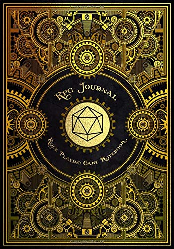 RPG Journal Mixed Paper: Ruled, Graph, Hexagon and Dot Grid | Role Playing Game Companion Gold Steampunk Cover (Steampunk RPG Game Series)