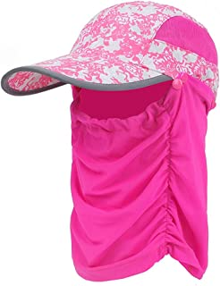SHYPwM-Hats Breathable Mask Face Sunshade Outdoor Fishing Cap,Summer UV Protection Hat (Color : Pink, Size : One Size)