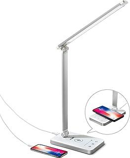 Lampe de Bureau LED avec Chargeur sans Fil Pliable 5 Modes Luminosité illimitée Lampe de Table Contrôle Tactile Lampe de C...