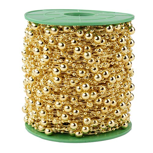 Xihui 200FT 60M 8+3mm Fishing Line Artificial Pearls Beads String Roll,Pearl Beaded Trim Decoration for Flower Tree Garland,Wedding Party,Bridal Bouquet, and Hair Band (Gold Pearl)