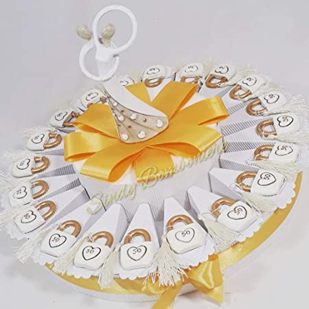 Idea Torta bomboniera per 9esimo 9 Anno di Matrimonio Nozze Anniversario  Lucchetto sposi Amore (Torta da 9 fette + Centrale)