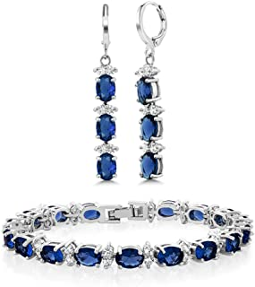 7inches Blue & White CZ Bracelet Set With Matching 2inches Oval Dangle Earrings