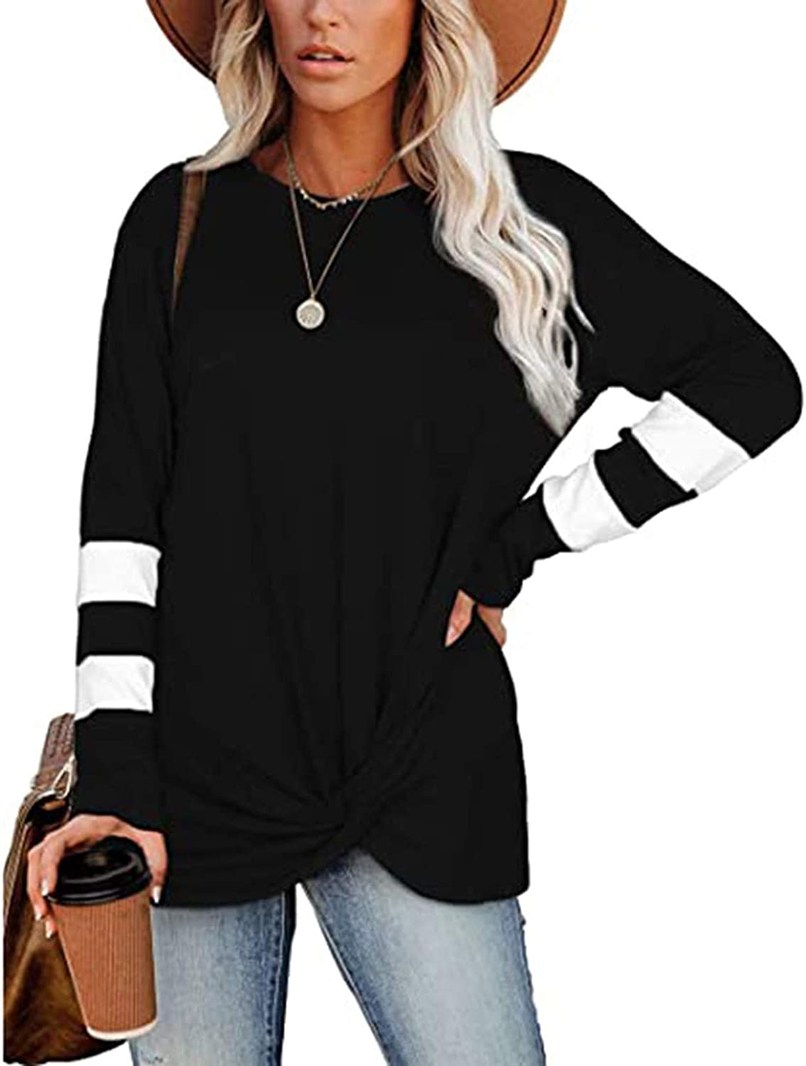 UOCUFY Women Long Sleeve Tops, Womens Tunics Shirts Tops Long Sleeve Soft Casual Loose Crewneck Pullover Tops