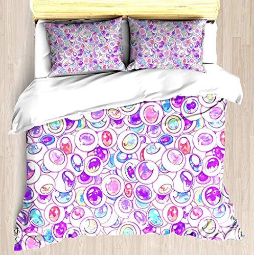 KASABULL Bettwäsche Kawaii BälleBettbezug Set mit Marmor Muster, 3 teilig microfaser Bettwäsche warme Bettbezüge mit Reißverschluss und 2 mal 80x80cm Kissenbezug 135x200 cm
