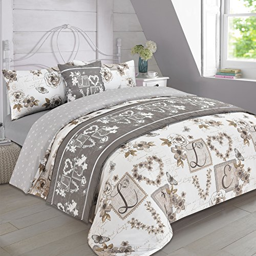 Dreamscene Complete Bedding Set Duvet Cover with Pillowcase Runner Sheet Millie Taupe - Double