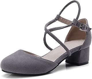 BalaMasa Womens ASL06432 Imitated Suede Block Heels