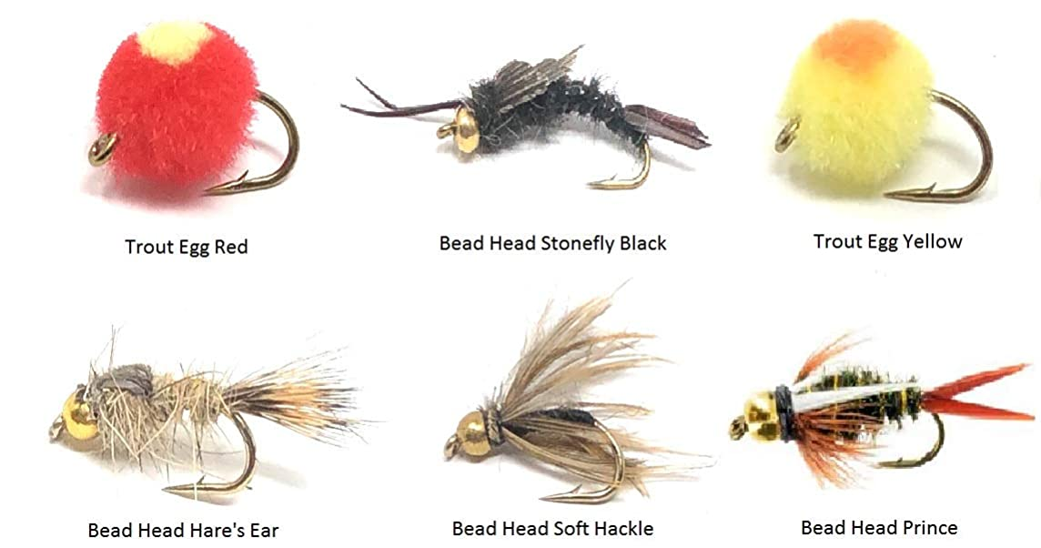 Feeder Creek Fly Fishing Assortment - 18 Flies in 6 Patterns and Variety of Sizes - Wets with Fly Box Eggs, Prince, Hare's Ear, Stonefly, Soft Hackle with Bead Heads