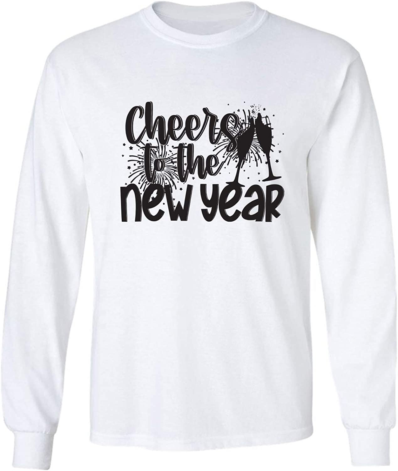Cheers to The New Year Adult Long Sleeve T-Shirt in White - XXXXX-Large