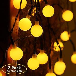 Gluckluz Solar String Lights Outdoor Fairy Lighting 30 LED Waterproof Warm Decoration Lamp for Indoor Home Bedroom Garden ...