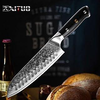 Couperet boucher Damas Couteau Santoku VG10 japonais de cuisine en acier Couteau de chef de Sharp Cleaver Sushi Gyuto Anti...