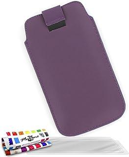 "MUZZANO Original""Le Sweep"" Case Cover for Samsung Galaxy Beam/I8530 with 3 Ultra-Clear Screen Protectors - Dark Purple"