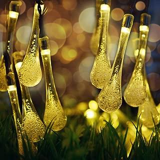 Solar String Lights,7m 50 LEDs Waterproof Teardrop Shaped - LED Outdoor String Lights for Cafe, Bistro Lighting, Garden, Home, Landscape, Holiday, Wedding Decorations (Teardrop Shaped 2, Warm White)